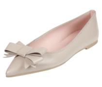 Ballerinas aus Leder mit Schleifen-Applikation