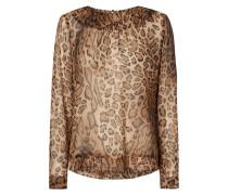 Blusenshirt aus Seide mit Leopardenmuster