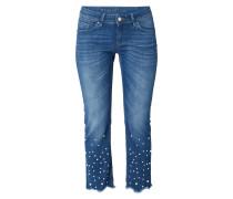 Slim Fit Jeans mit Zierperlenbesatz