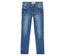 Stone Washed Slim Fit Jeans mit Aufnähern