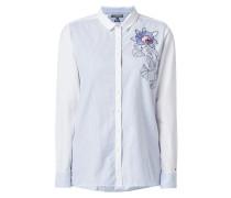Hemdbluse mit floraler Stickerei
