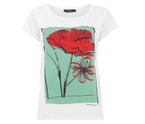 T-Shirt mit Blumenprint und Zierperlenbesatz