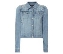 Jeansjacke mit Zierperlenbesatz