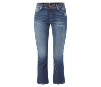 Stone Washed Cropped Jeans