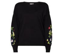 Pullover mit Puffärmeln und floralen Stickereien