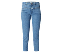 Stone Washed High Rise Cropped Jeans