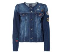 Jeansjacke mit Aufnähern und Stickereien
