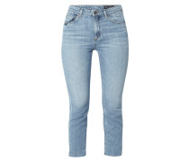 Stone Washed Straight Fit High Rise Jeans