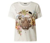 T-Shirt aus Leinen mit Pailletten