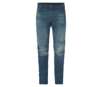 Slim Fit Stone Washed Jeans im Biker-Look