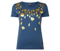 T-Shirt mit Blätter-Print in Goldoptik
