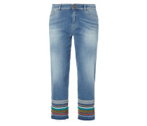 Stone Washed Boyfriend Fit Jeans - verkürzt