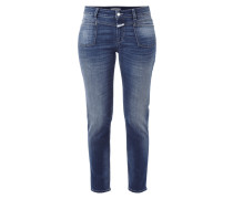 Stone Washed Slim Fit Jeans mit verkürztem Bein