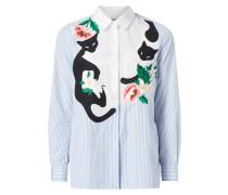 Hemdbluse mit Katzen-Aufnäher