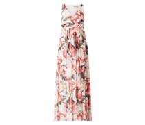 Abendkleid aus Mesh mit floralem Muster