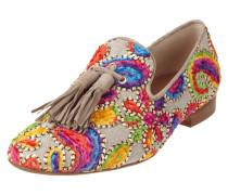 Loafer mit Zierquasten und Stickereien