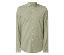 Slim Fit Business-Hemd mit Leinen-Anteil