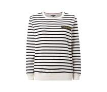 Sweatshirt mit Streifenmuster und Logo-Aufnäher