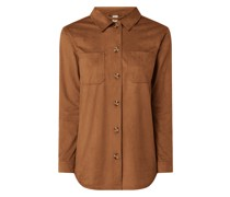 Bluse in Veloursleder-Optik