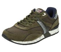Sneakers mit Kontrastbesatz aus Veloursleder