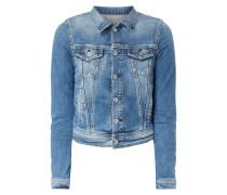 Cropped Jeansjacke mit Pattentaschen