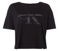 Crop-Shirt mit gummiertem Logo-Print