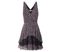 Kleid mit Millefleurs und Einsätzen aus Spitze