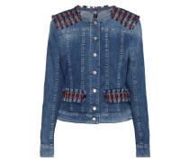 Jeansjacke mit Besatz aus Bouclé
