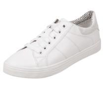 Sneaker in Lederoptik mit Besatz in Metallicoptik