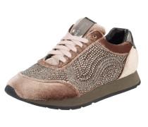 Sneaker aus Samt mit Ziersteinen
