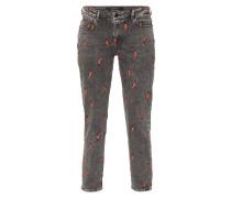 Slim Boyfriend Fit 5-Pocket-Jeans mit Stickereien