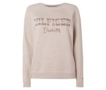 Sweatshirt mit Logo aus Zierperlen