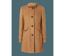 Mantel aus Bouclé mit Stehkragen