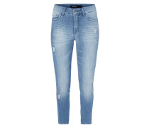 Stone Washed Slim Fit Jenas mit Ziersteinen