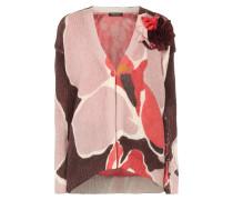 Strickcardigan mit Blüten-Anstecker