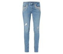 Skinny Fit Jeans mit Zierperlen