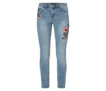 Cigarette Fit Jeans mit floralen Stickereien