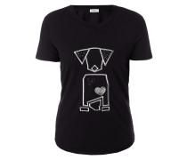 T-Shirt mit Motiv-Stickerei aus Effektgarn