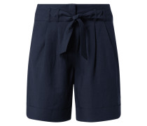 Shorts aus leichtem Viskose-Leinen-Mix mit gebundenem Gürtel
