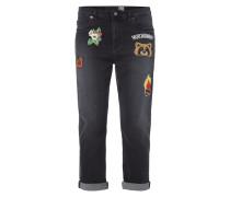 Coloured Boyfriend Fit Jeans mit Patches