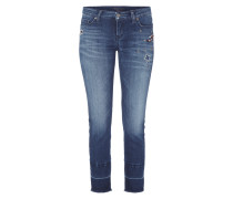 Slim Fit Jeans mit Paillettenbesatz