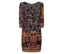 Kleid mit floralem Muster und Eulen