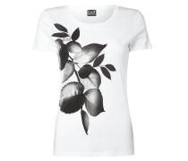 T-Shirt mit floralem Print und Ziersteinen