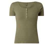 Serafino-Shirt mit Rippenstruktur Modell 'Kitte'