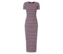 Kleid mit logofarbenem Streifenmuster