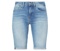 Stone Washed Skinny Fit Jeansbermudas