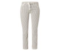 Straight Fit Jeans mit Streifenmuster