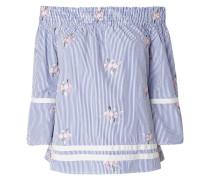 Off Shoulder Blusenshirt mit floralen Stickereien