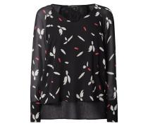 Blusenshirt aus Chiffon mit abstraktem Muster