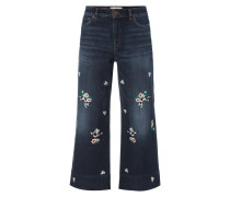 Stone Washed Jeans mit Stickereien